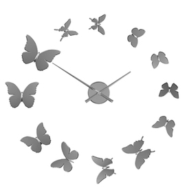 Reloj pared Butterflies adhesivo cromado plás