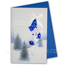 Felicitación de Navidad azul con un calcetín