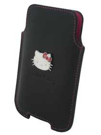 Funda de piel negra Hello Kitty iPhone 4-3GS-Nokia C7