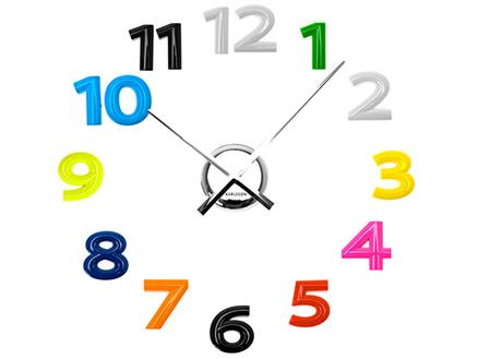 Reloj de pared adhesivo diy con mega n meros de colores - Hacer reloj de pared con fotos ...