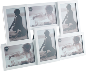 Marco de fotos Isernia múltiple para 6 fotos 10x15 de color blanco de plástico