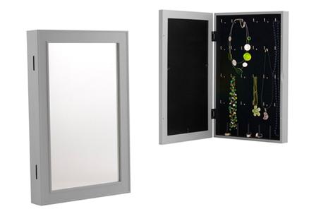 Joyero de pared con espejo y marco de fotos de color gris for Espejo marco gris