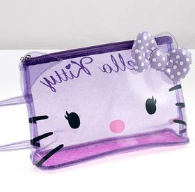 Neceser playa con asa transparente de color lila Hello Kitty