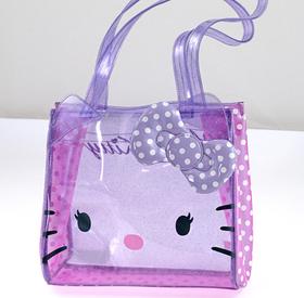 Bolso cuadrado transparente de color lila con topos blancos pequeño