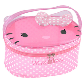 Neceser grande transparente de color rosa con topos Hello Kitty