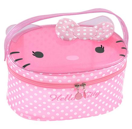 Neceser grande transparente de color rosa con topos Hello Kitty