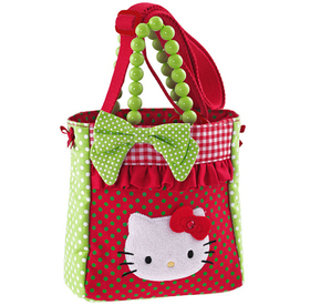 Bolso cuadrado rojo y verde Hello Kitty