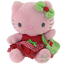 Peluche  28cm rojo y verde Hello Kitty