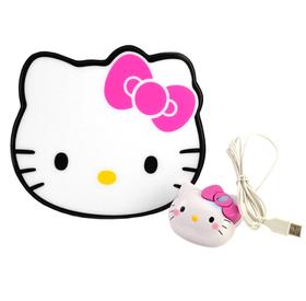Ratón con su alfombrilla con forma de Hello Kitty
