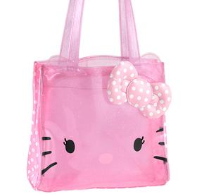 Bolso cuadrado transparente de color rosa con topos blancos pequeño