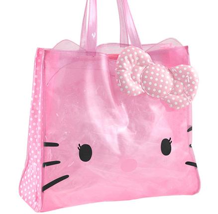 Bolso cuadrado transparente de color rosa con topos blancos grande