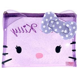 Estuche portatodo transparente de color lila Hello Kitty
