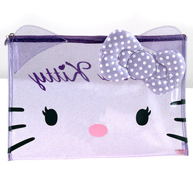 Estuche portatodo transparente de color lila Hello Kitty grande