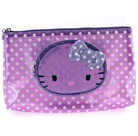 Estuche para maquillaje transparente de color lila Hello Kitty grande