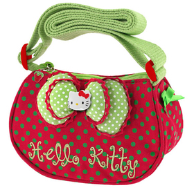 Bandolera mini roja y verde Hello Kitty