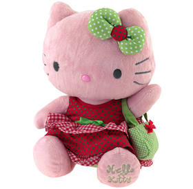 Peluche  31cm rojo y verde Hello Kitty