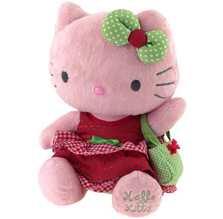 Peluche  31cm rojo y verde Hello Kitty