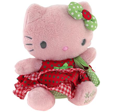 Peluche  20cm rojo y verde Hello Kitty