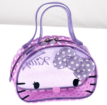 Mini bolso transparente de color lila con topos Hello Kitty