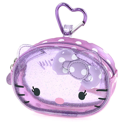 Monedero transparente de color lila Hello Kitty