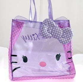 Bolso cuadrado transparente de color lila con topos blancos grande