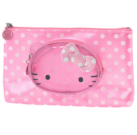 Estuche para maquillaje transparente de color rosa Hello Kitty