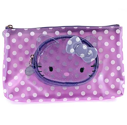 Estuche para maquillaje transparente de color lila Hello Kitty