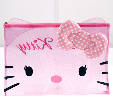 Estuche portatodo transparente de color rosa Hello Kitty grande