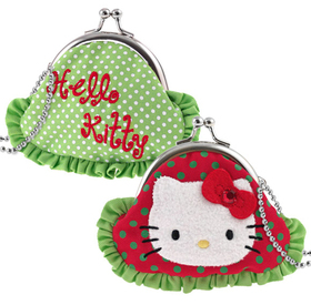 Monedero rojo y verde Hello Kitty