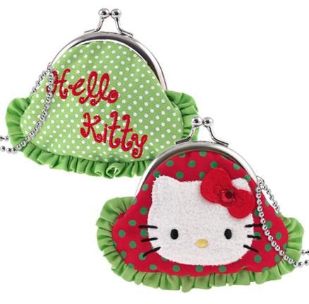 Monedero rojo y verde Hello Kitty