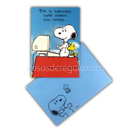Felicitación de Cumpleaños de Snoopy en el ordenador y con un amigo