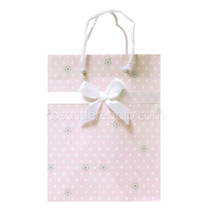 Bolsa de regalo con lazo y botones rosa