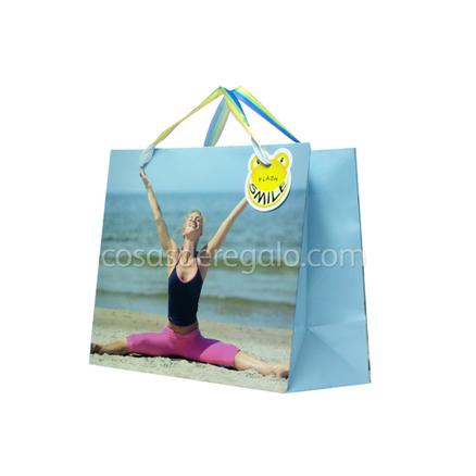 Bolsa de regalo de una chica con el arco iris Flash Smile