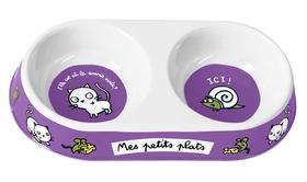 Plato para comer y beber con dibujos de GATOS de color violeta