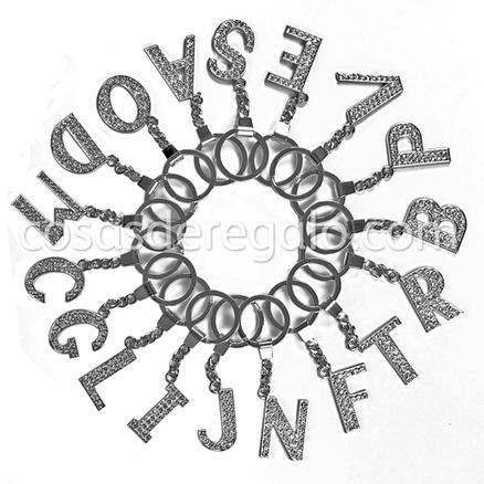 Llavero de una letra con cristales