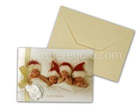 Felicitación de navidad de Anne Geddes lazo amarillo