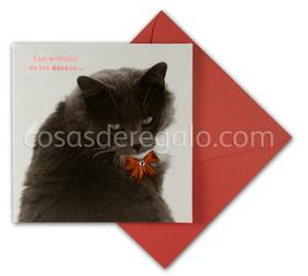 Felicitación de Navidad de gatito con lazo en rojo