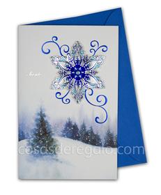 Felicitación de Navidad azul con una estrella