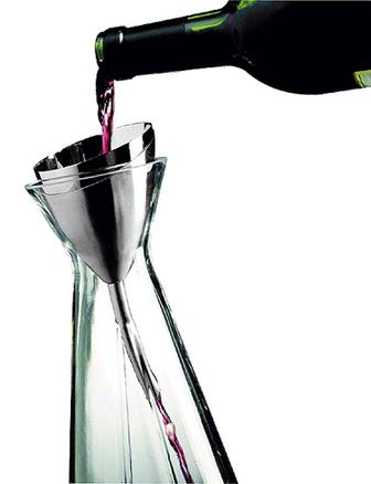 Embudo para vino con filtro para vino de doble malla y soporte satinado WA-108