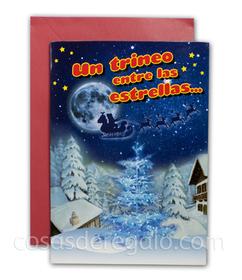Felicitación de Navidad con luz y sonido Un trineo entre las estrella