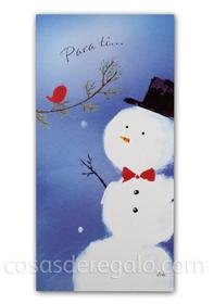 Billetero de Navidad con muñeco de nieve