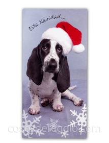 Billetero de Navidad de perrito con gorro