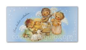 Billetero de Navidad de angelitos con instrumentos