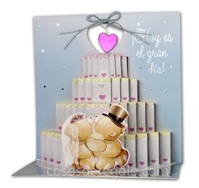 Felicitación de Boda Pop-up con un pastel