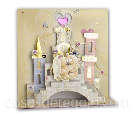 Felicitación de Boda Pop-up con un castillo