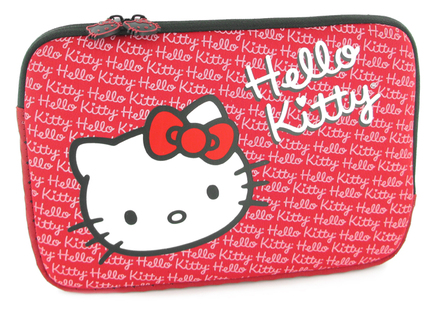 Funda para el portatil Hello Kitty roja estampada