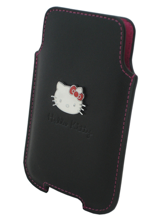 Funda de piel negra Hello Kitty iPhone 4-3GS-Nokia C7