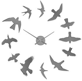 Reloj pared Birds adhesivo cromado utiliza 1 pila AA