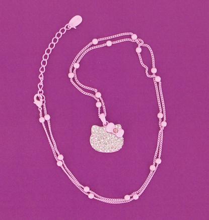 Collar de la Hello Kitty de color rosa