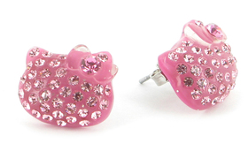 Pendientes de la Hello Kitty de color rosa
